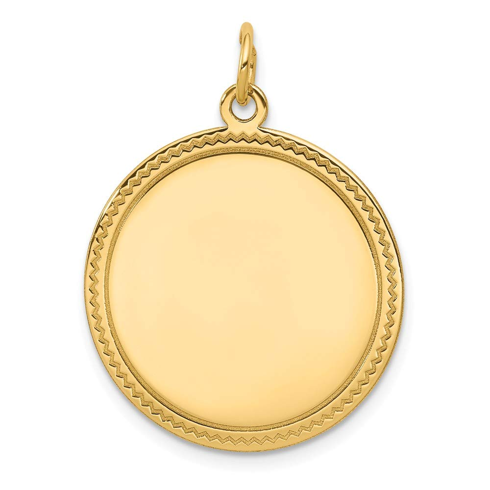 14k Yellow Gold .035 Gauge Engravable Round Disc Pendant Charm Necklace Lasered Etched Fine Mothers Day Jewelry For Women Gifts For Her