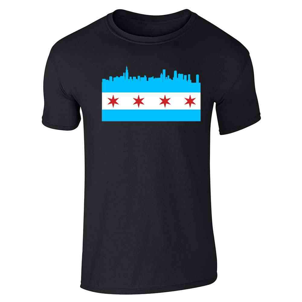 Pop Threads Chicago Flag Pride City Sports Fan Pizza Fire Graphic Tee T-Shirt for Men