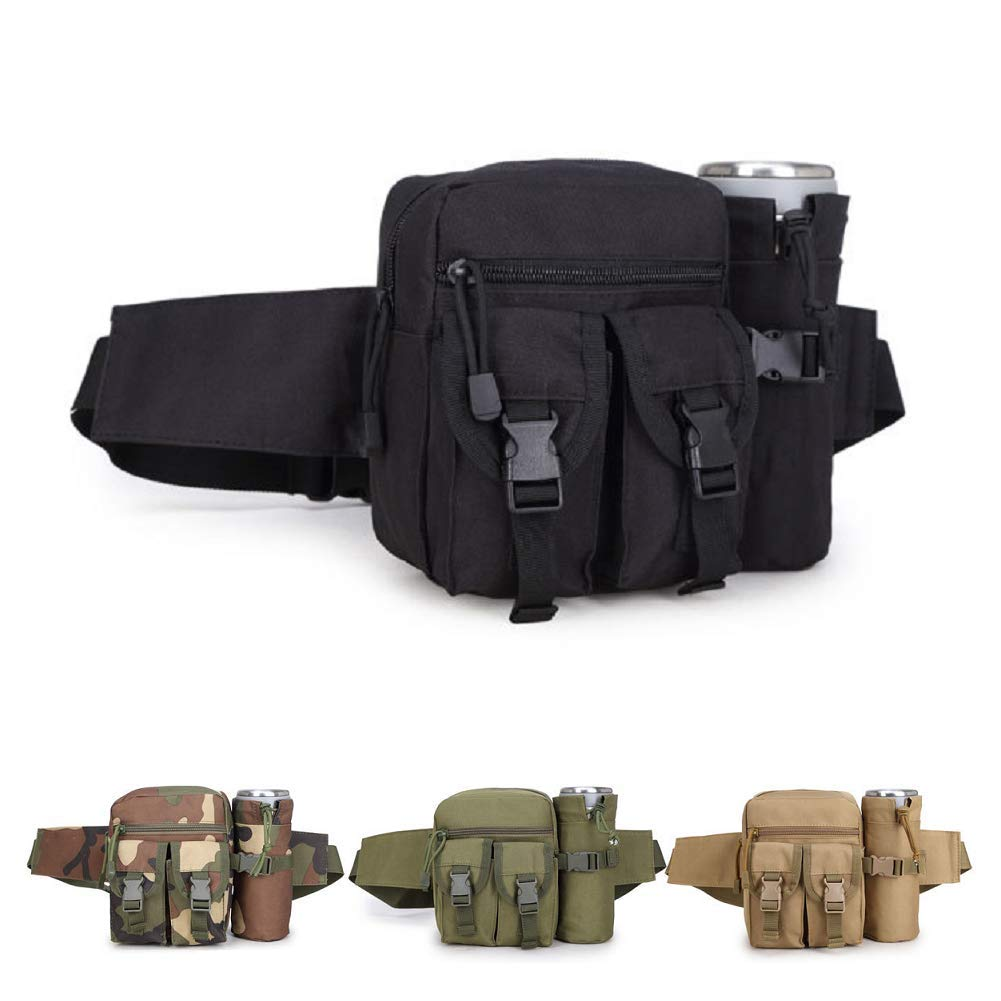 HYCOPROT Tactical Waist Bag Military Fanny Pack Adjustable Sling Bag with Water Bottle Pouch for Fishing Hunting Camping Hiking