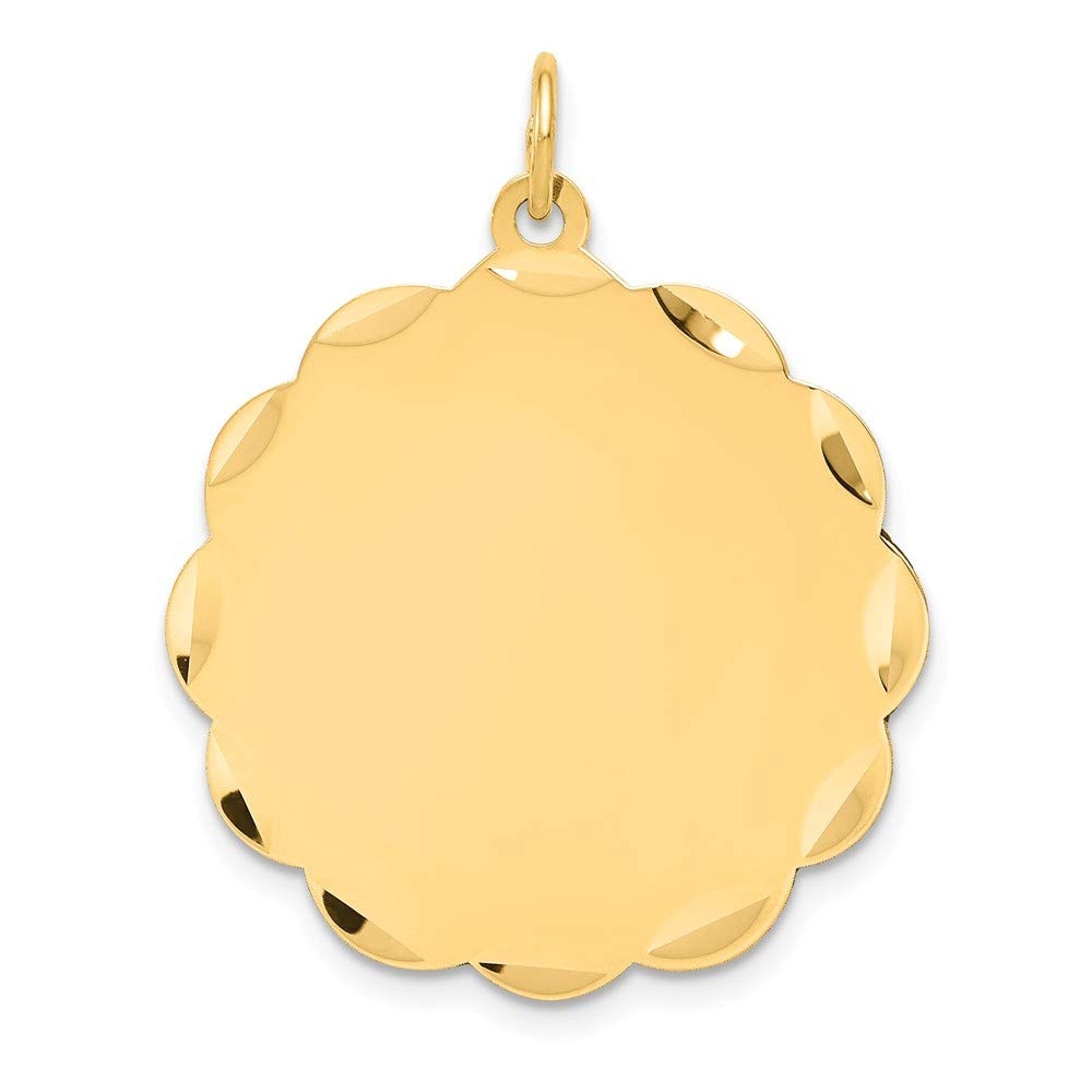 14k Yellow Gold .035 Gauge Engravable Scalloped Disc Pendant Charm Necklace Shaped Fine Jewelry For Women Gifts For Her