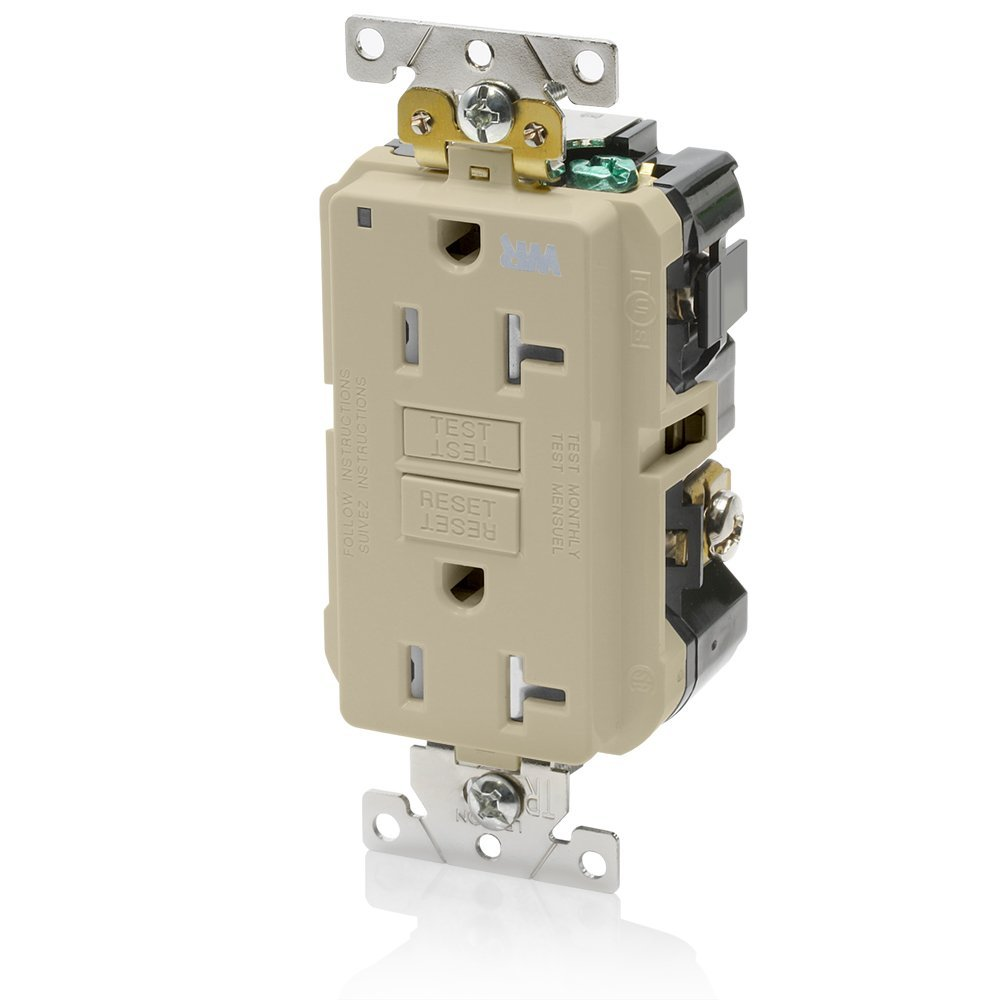 Leviton G5362-WTI 20A-125V Extra-Heavy Duty Industrial Grade Weather/Tamper-Resistant Duplex Self-Test GFCI Receptacle, Ivory, 20-Amp