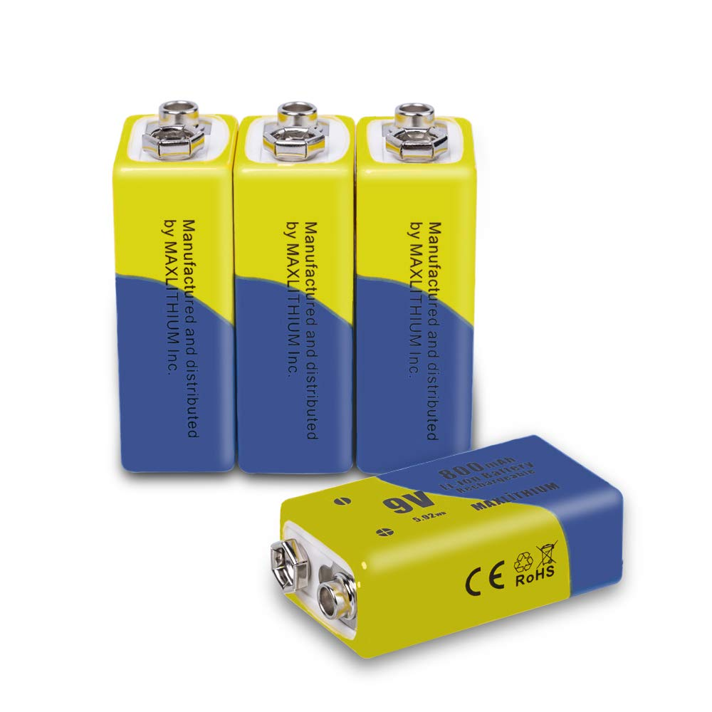 9v Batteries Rechargeable Lithium ion, Capacity 800mAh, 4 Pack