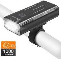 WASAGA TECOVE 1000 Lumens Bike Headlight Front Bicycle Light - Super Bright USB Rechargeable Bike Light for Commuters, Road Cyclists & Mountain Bikers