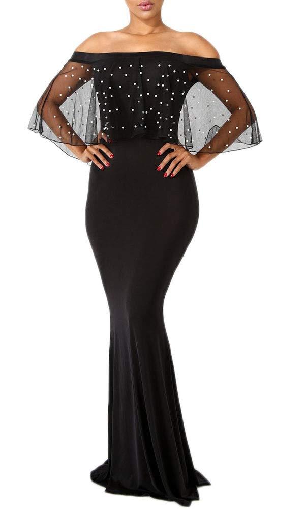 LaCouleur Women's Elegant Spaghetti Straps Strapless V Neck Long Mermaid Gown Prom Formal Evening Dresses
