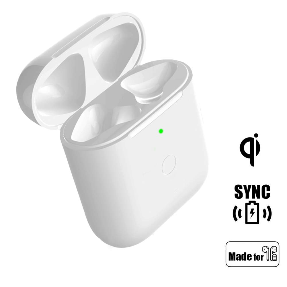 Wireless Charging Case Replacement Compatible with AirPods 1 2, QI AirPod Charger Protective Cover with Sync Bluetooth Pairing Button, Built-in Battery 5 Times Full Charge (White)