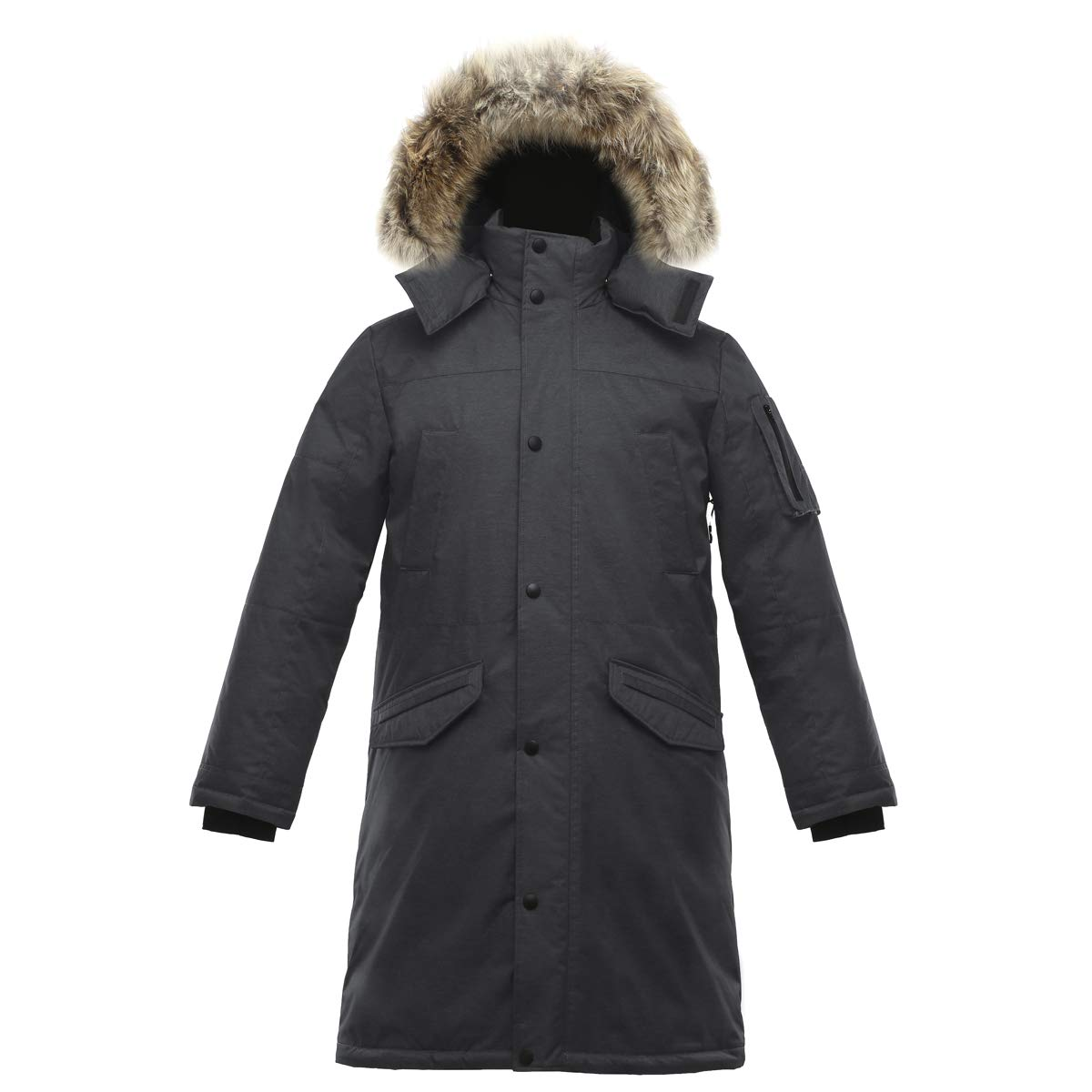 Triple F.A.T. Goose SAGA Collection   Eberly II Mens Hooded Goose Down Jacket Parka with Real Coyote Fur