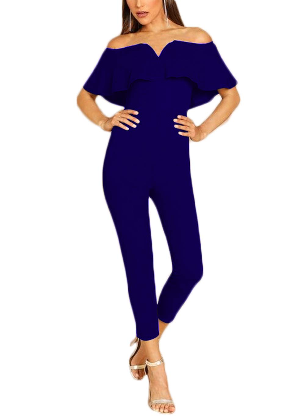 Women's V Neck Off Shoulder Bodycon Jumpsuit Ruffled Elegant Sexy Night Clubwear Skinny Romper Playsuit