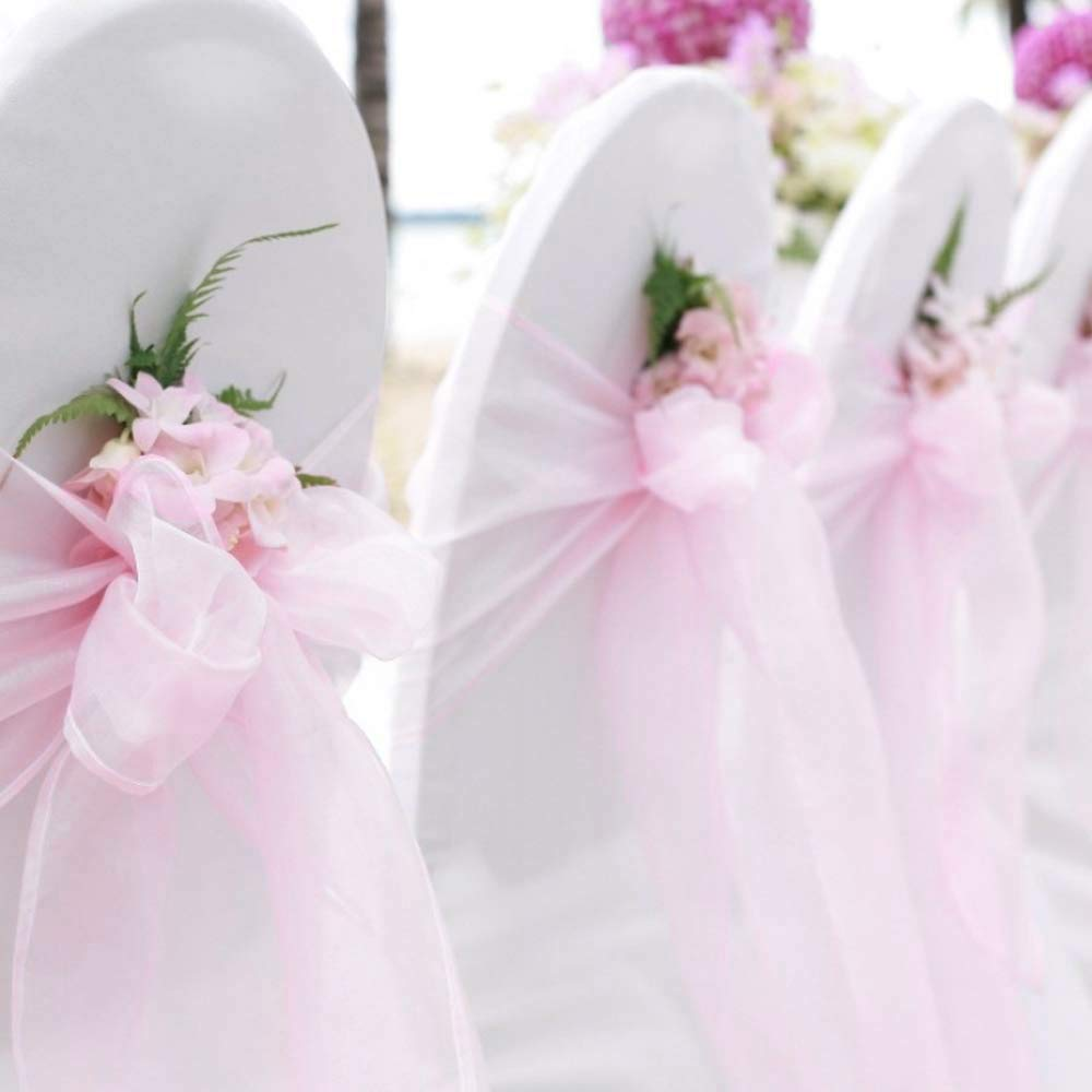 BIT.FLY 50 Pcs Organza Chair Sashes for Wedding Decoration Banquet Party Event Supplies Chair Bows Ties Chair Cover Bands - Light Pink