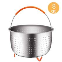 House Again Original Sturdy Steamer Basket for 8 Quart Pressure Cooker, 18/8 Stainless Steel Steamer Insert with Silicone Covered Handle, Great Accessory for Steaming Vegetables Fruits Eggs