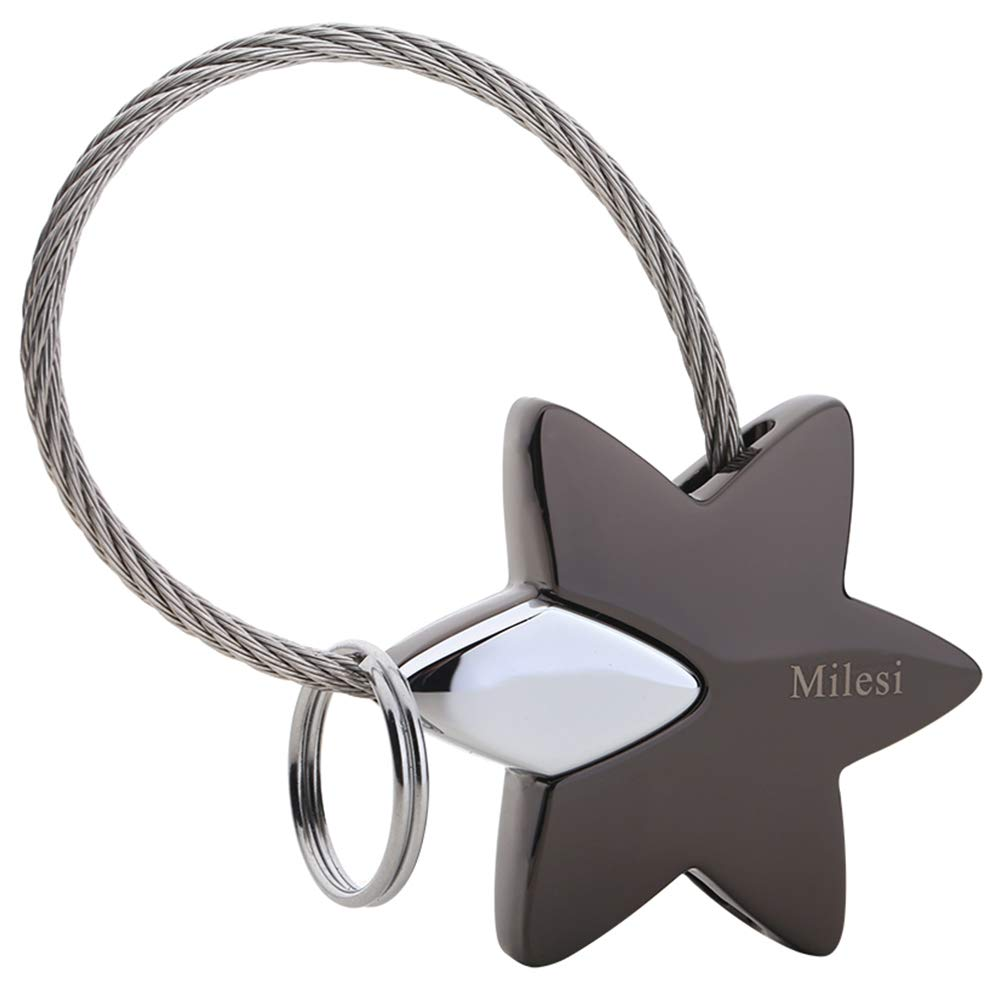 MILESI Star Keychain Personalized Charms Keyring Pendant Gifts for Couple