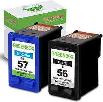 GREENBOX Re-Manufactured Ink Cartridge Replacement for HP 56 57 Used in HP Deskjet 5650 5150 5550 5850 Photosmart 7260 7350 7450 7550 7660 7760 Officejet 4215 PSC 1350 Printer (1 Black 1 Tri-Color)