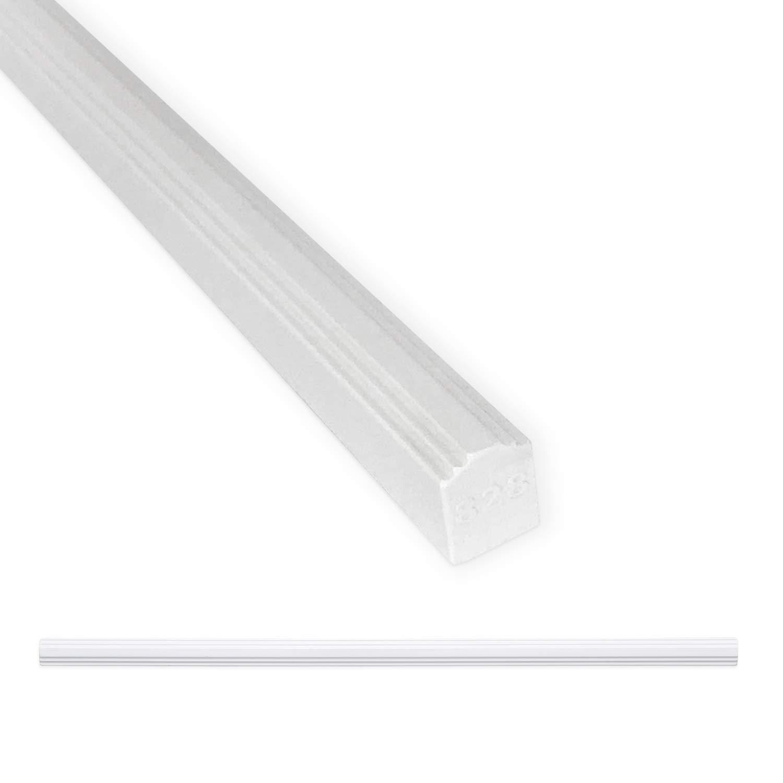 Tile Trim 1/2 x 12 inch Cornice Pencil Decorative Shower Ceramic Tile Edge Liner Backsplash Wall Molding - Polished Bright White (6 Pack)