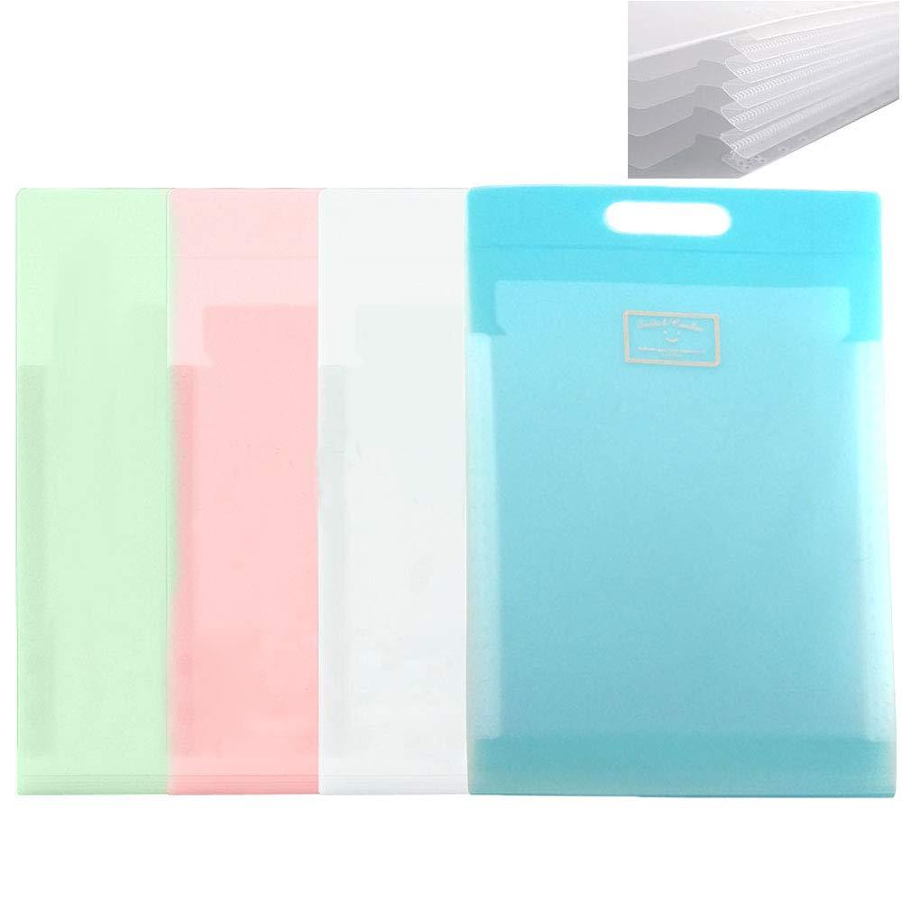 LoaferUp A4 Paper Pocket Expanding File Folder Jacket, 6-Pocket Vertical Design Accordion Document Holder, 4 Pack