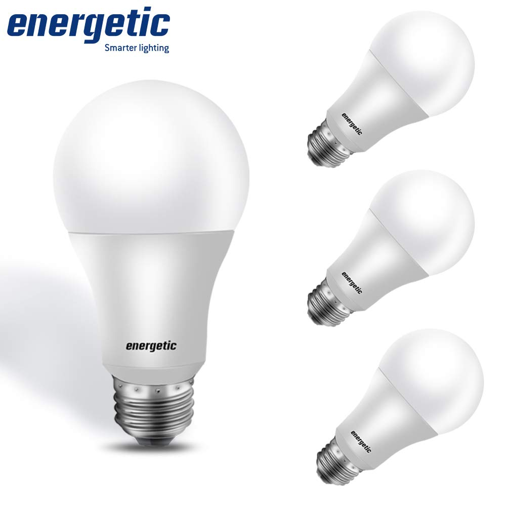 100W Equivalent, A19 LED Light Bulb, Daylight 5000K, E26 Base, Non-Dimmable, 1600lm, UL Listed, 4-Pack