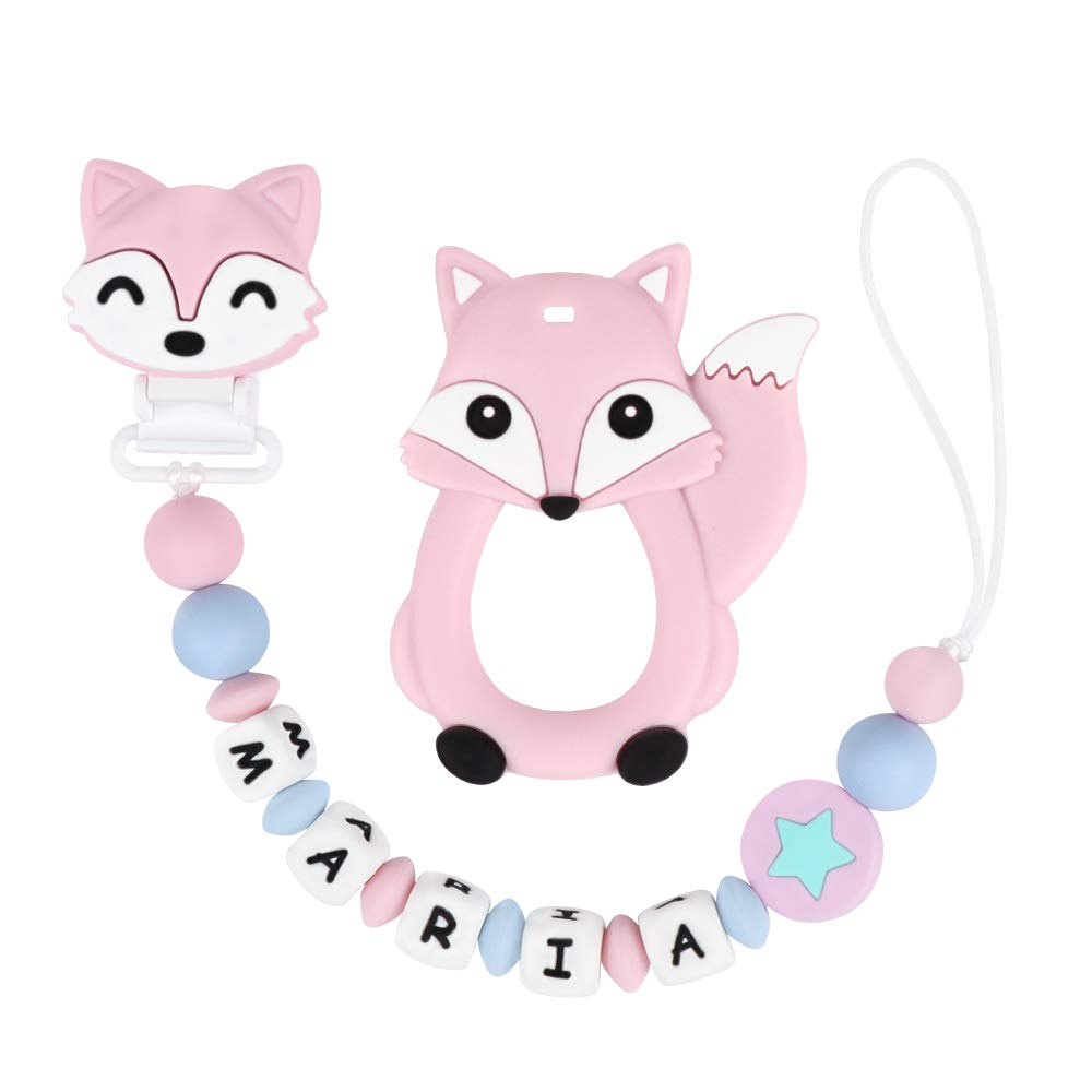 Pacifier Clip Personalized Name with Fox Teether, MCGMITT Customized Binky Holder Teething Silicone Beads for Baby Girls (Pink)