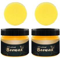 Wood Seasoning Beewax - Traditional Beeswax Polish for Wood & Furniture, All-Purpose Beewax for Wood Cleaner and Polish Wipes-Furniture Care Multipurpose Natural Beeswax(2xWood Seasoning+2xSponge)