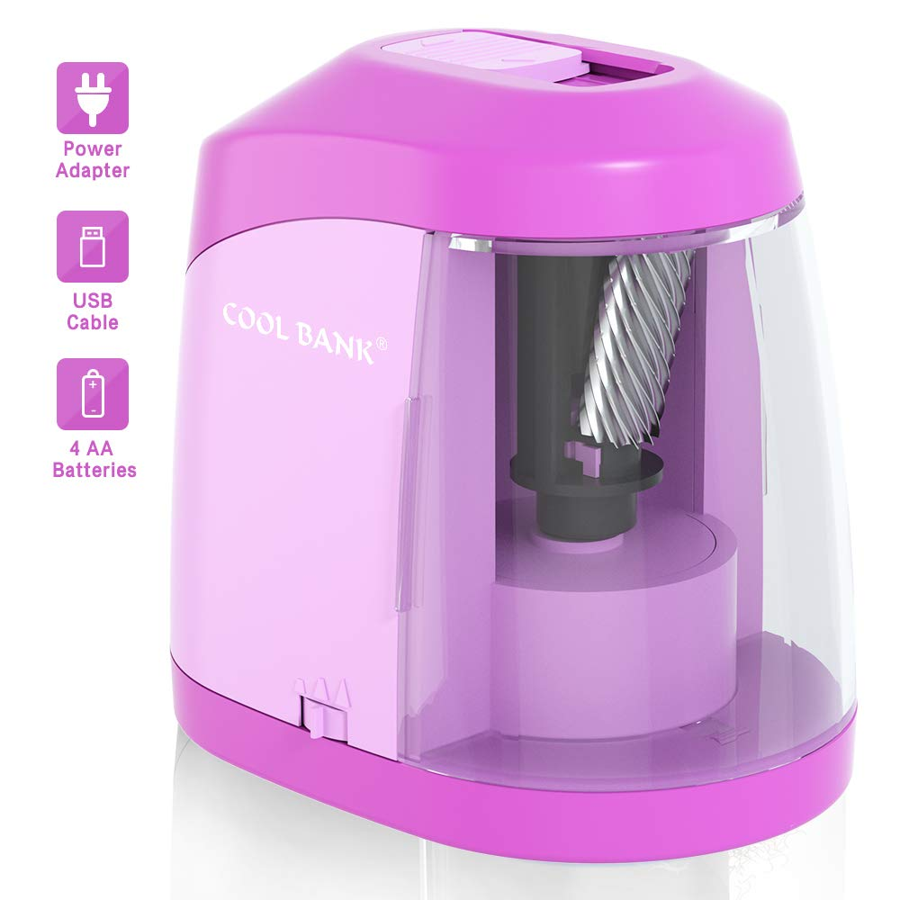 Electric Pencil Sharpener, Heavy duty Helical Blade to Fast Sharpen, Auto Stop for No.2/Colored Pencils(6-8mm), USB/Battery Operated in School Classroom/Office/Home(USB Cable Included) Pink
