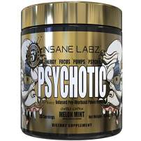 Insane Labz Psychotic Gold, High Stimulant Pre Workout Powder, Extreme Lasting Energy, Focus, Pumps and Endurance with Beta Alanine, DMAE Bitartrate, Citrulline, NO Booster, 35 Srvgs,Melon Mint