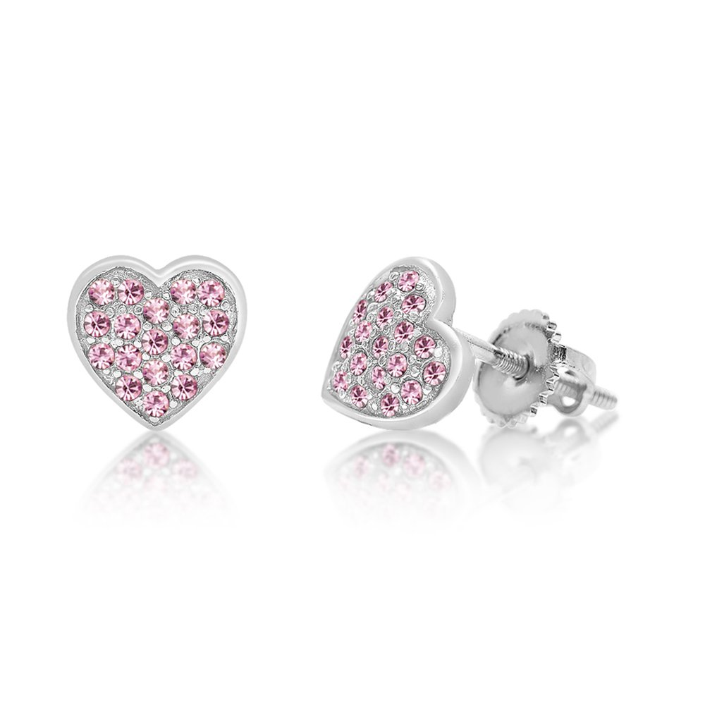 Chanteur Kids Baby Girl Earrings With Swarovski Elements 925 Sterling, White Gold Tone (Pink)