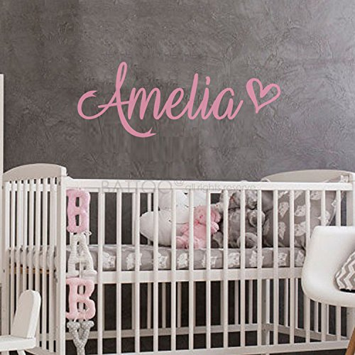 """BATTOO Fancy Personalized Custom Name Vinyl Wall Art Decal Sticker 16"""" w, Girl Name Decal, Girls Name, Nursery Name, Girls Name Decor, Girls Bedroom Decor Plus Free Hello Door Decal, Soft Pink"""