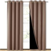 NICETOWN 100% Blackout Curtains Thermal, Noise Reduction and Privacy Curtains for Patio Door, Black Lined Blackout Drapes with Grommet Top, Cappuccino, 1 Pair, W52 x L84