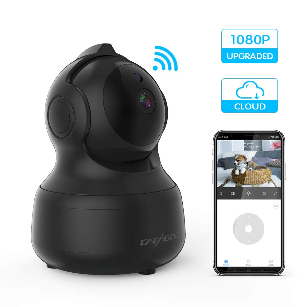 CACAGOO Baby Monitor, 2.4Ghz WiFi Wireless Security Camera Dome Camera 1080P IP Camera Pet Camera with Motion Detection Two-Way Audio IR Night Vision Cloud Storage