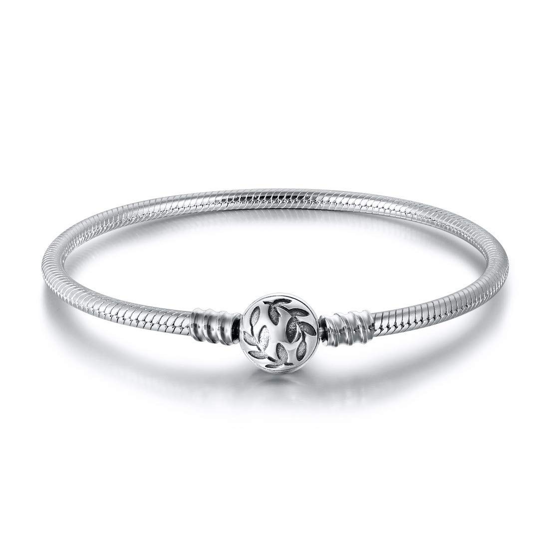 "DALARAN 925 Sterling Silver Charm Bracelet Snake Chain for Women Girls Fit for Standard Charms Bead 6.7""-7.9"""