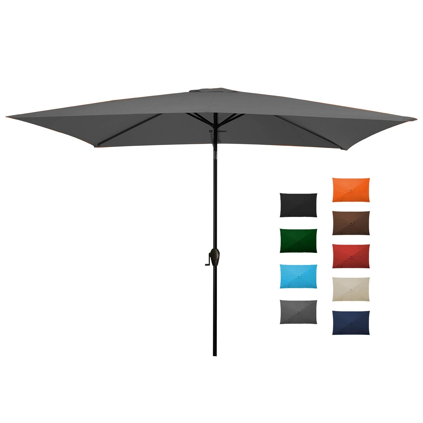 MEWAY Rectangular Patio Table Umbrella Garden Umbrella with Tilt and Crank for Commercial Event Market, Garden, Deck,Backyard,Pool and Patio Table (6.6 X 10 ft, Grey)