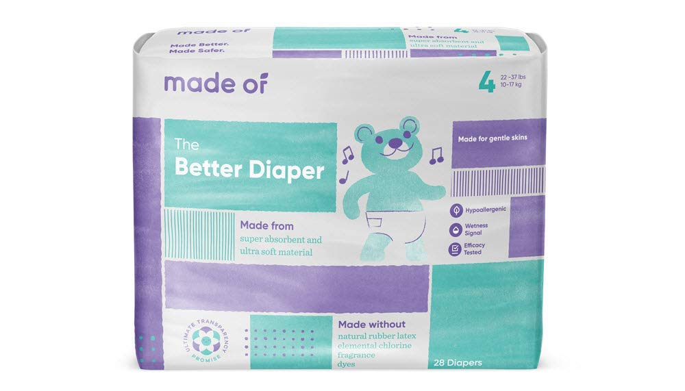 Diapers Size 4 - MADE OF The Better Baby Diapers - for Sensitive Skin, Hypoallergenic - Dyes and Fragrance Free, 22-37 pounds - (112 Unit - 4 Pack)