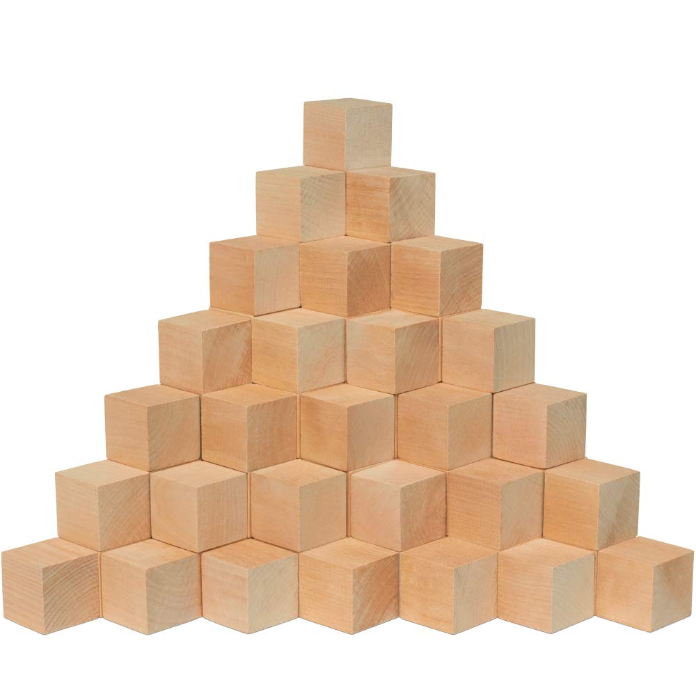 1.5 Inch Wooden Cubes, Bag 36 Unfinished Plain Wooden Square Blocks, Baby Shower Decorating Blocks, for Puzzle Making, Crafts, and DIY Projects. by Woodpeckers