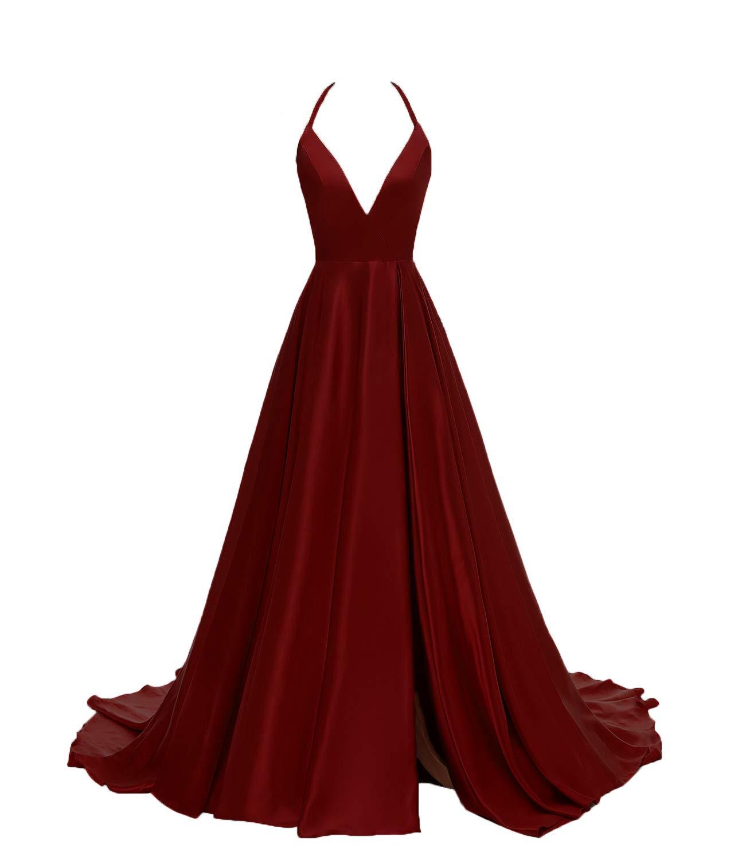 Gricharim Women's V-Neck Halter Satin Prom Dresses Side Slit Evening Formal Gowns Burgundy US26W