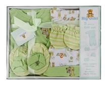 Big Oshi 5 Piece Layette Newborn Baby Gift Set - Great Baby Shower or Registry Gift Box to Welcome a New Arrival - All The Essentials - Pants, Shirt, Cap, Mittens and Booties, Green