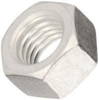 "Aluminum Machine Screw Hex Nut, Plain Finish, ASME B18.6.3, #6-32 Thread Size, 7/64"" Width Across Flats, 5/16"" Thick (Pack of 100)"