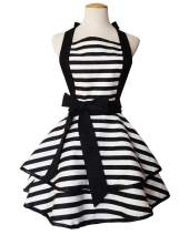 Floosum 1950's Style Vintage Retro Black Striped Double Layer Cooking Pinafore Apron for Women Woman Girl BBQ