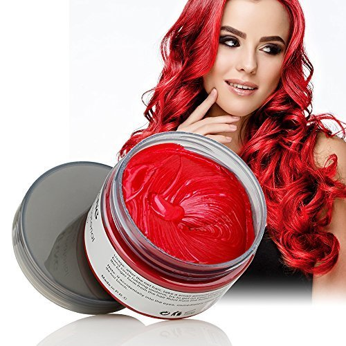 Hair Color Wax Wash Out Hair Color Instant Hair Wax Temporary Hairstyle Cream 4.23 oz Hair Pomades Natural Red Hair Gel for Men and Women (Red)