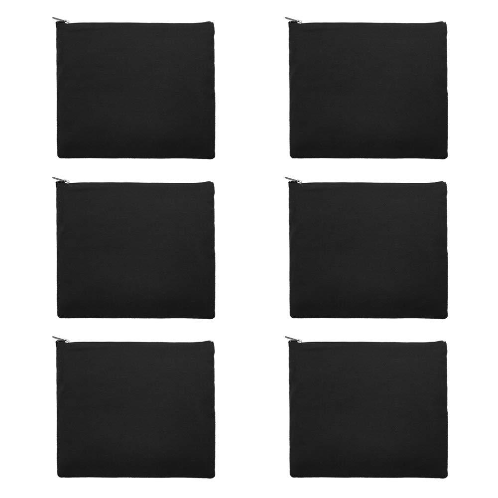 Aspire 6-Pack Black Cotton Canvas Bags Pencil Cases 9.5 x 8 Inches Zipper Bags