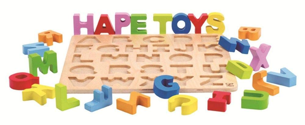 Hape Alphabet Blocks Learning Puzzle   Wooden ABC Letters Colorful Educational Puzzle Toy Board for Toddlers and Kids, Multi-Colored Jigsaw Blocks
