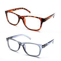 Reading Glasses 2 Pairs Blue Light Blocking Readers for Men Women Computer Reader Glasses UV Protection Anti Reflection, 2.50 Strength