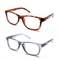Reading Glasses 2 Pairs Blue Light Blocking Readers for Men Women Computer Reader Glasses UV Protection Anti Reflection, 3.00 Strength