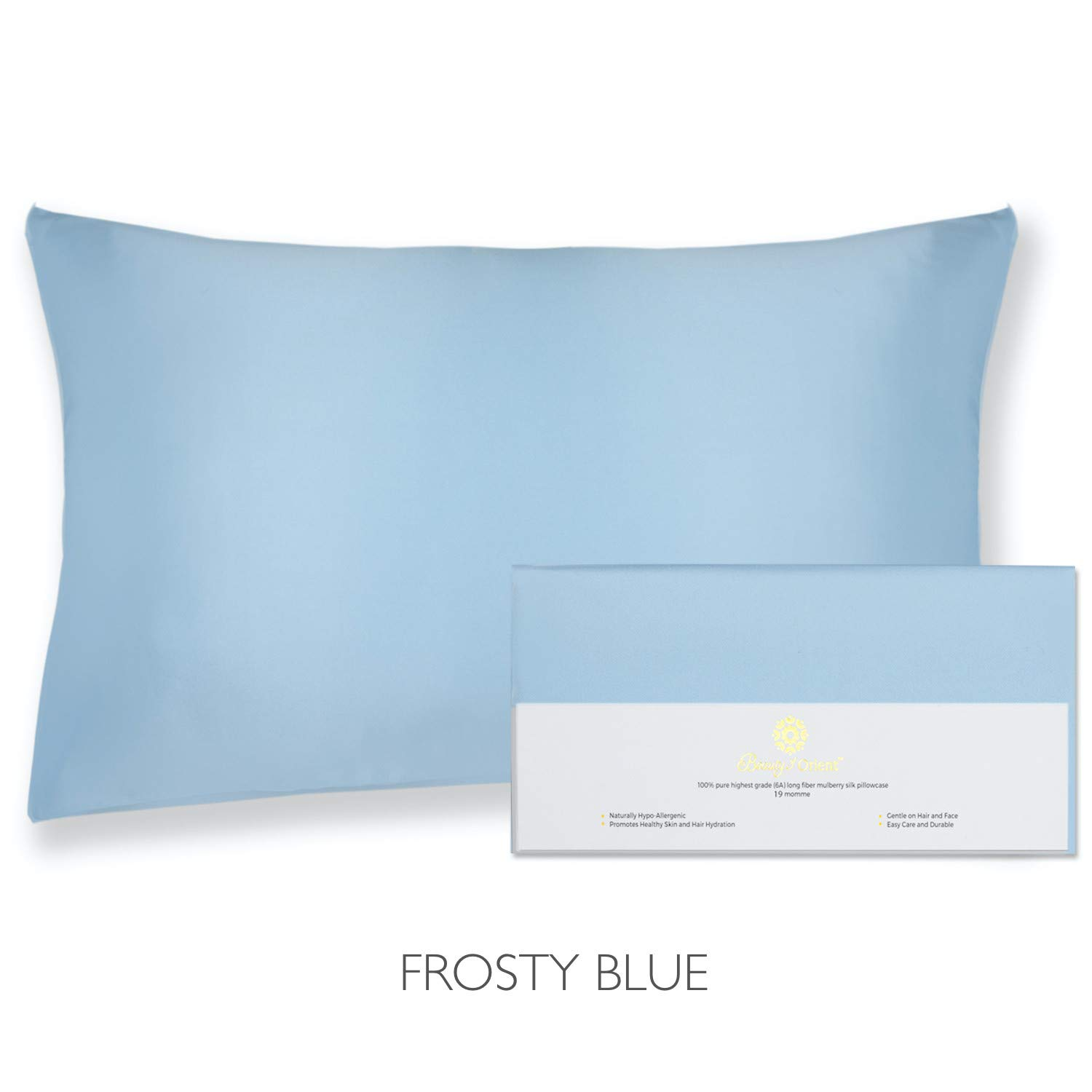 """Beauty of Orient - 100% Pure Mulberry Silk Pillowcase for Hair and Skin, 19 Momme Both Sides, Hidden Zipper, Natural Hypoallergenic Silk Pillow Case - Best Sleep (1pc Queen - 20"""" x 30"""", Frosty Blue)"""