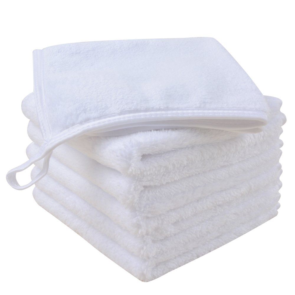 Sinland Microfiber Face Cloths For Bath Reusable Makeup Remover Cloth Ultra Soft and Absorbent Washcloths For Baby 12Inch x 12Inch White 6 Pack