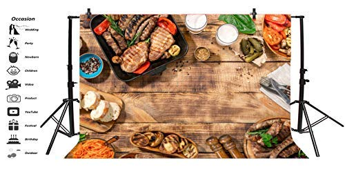 Baocicco 7x5ft Barbecue Backdrop BBQ Shower Backdrop Wood Roast Sausage Board Steak Frankfurter Photography Bacdground Barbecue Grilled Family Outdoor Picnic Park Children Adults Portraits