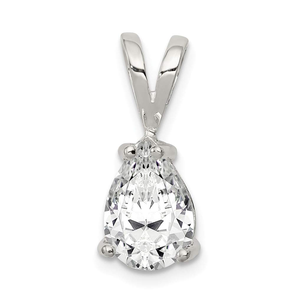 925 Sterling Silver Pear Cubic Zirconia Cz Pendant Charm Necklace Fine Jewelry For Women Gifts For Her