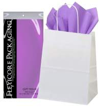 Flexicore Packaging White Kraft Paper Gift Bags & Lavender Purple Gift Wrap Tissue Paper Size: 8 Inch X 4.75 Inch X 10.5 Inch | Count: 50 Bags | Color: Lavender Purple