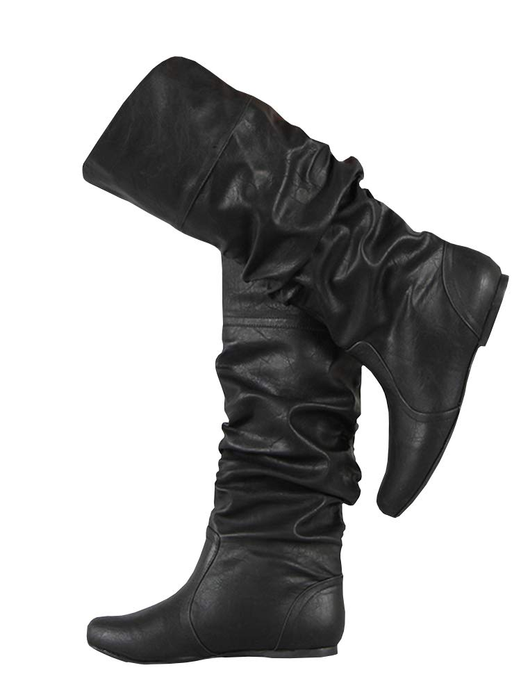 PASLTER Womens Slouchy Flat Knee High Boot Wide Calf Round Toe Boots Riding Shoes