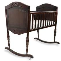Green Frog, Antique Espresso Cradle | Handcrafted Elegant Wood Baby Cradle | Premium Pine Construction | Rocking and Stationary Features