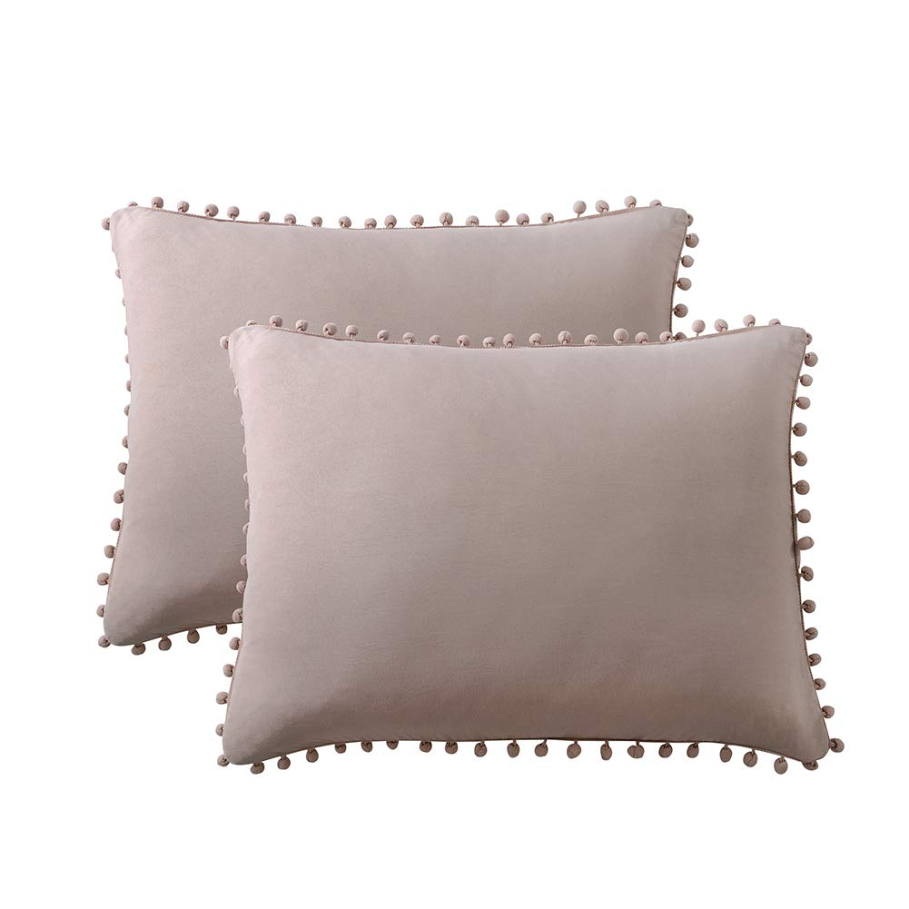 MOVE OVER Taupe Pom Poms Pillow Case, Taupe Grey Standard Pillowcases Set of 2, 100% Washed Microfiber Pillow Cover, Solid Color Ball Fringe Pillow Shams, 2 Pack (Standard, Taupe)