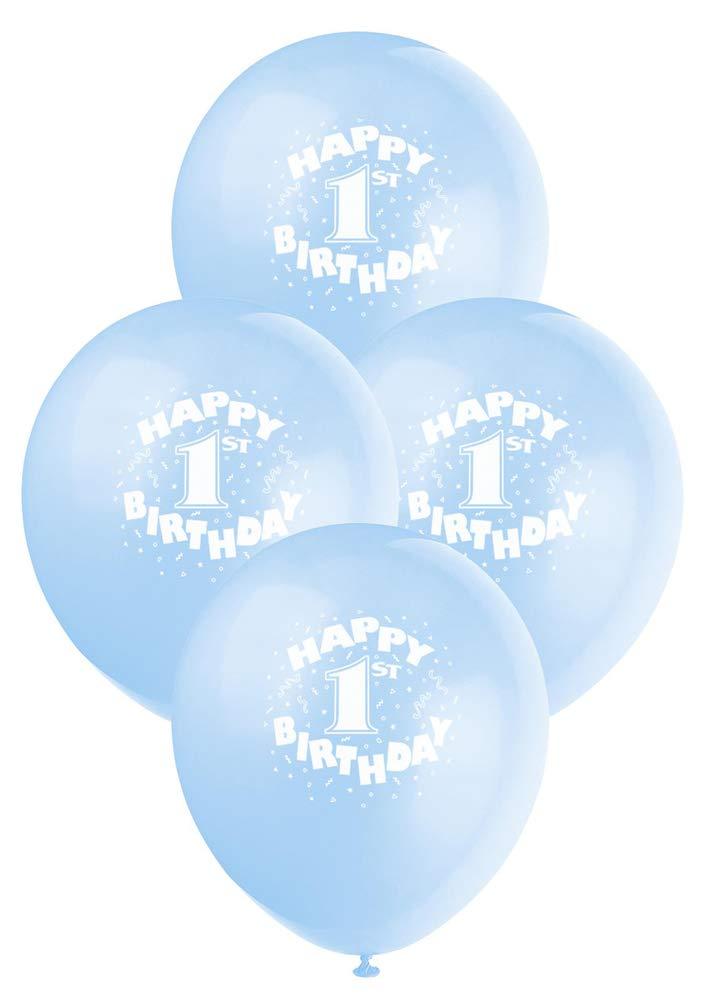 "12"" Latex Blue Happy 1st Birthday Balloons, 6ct"