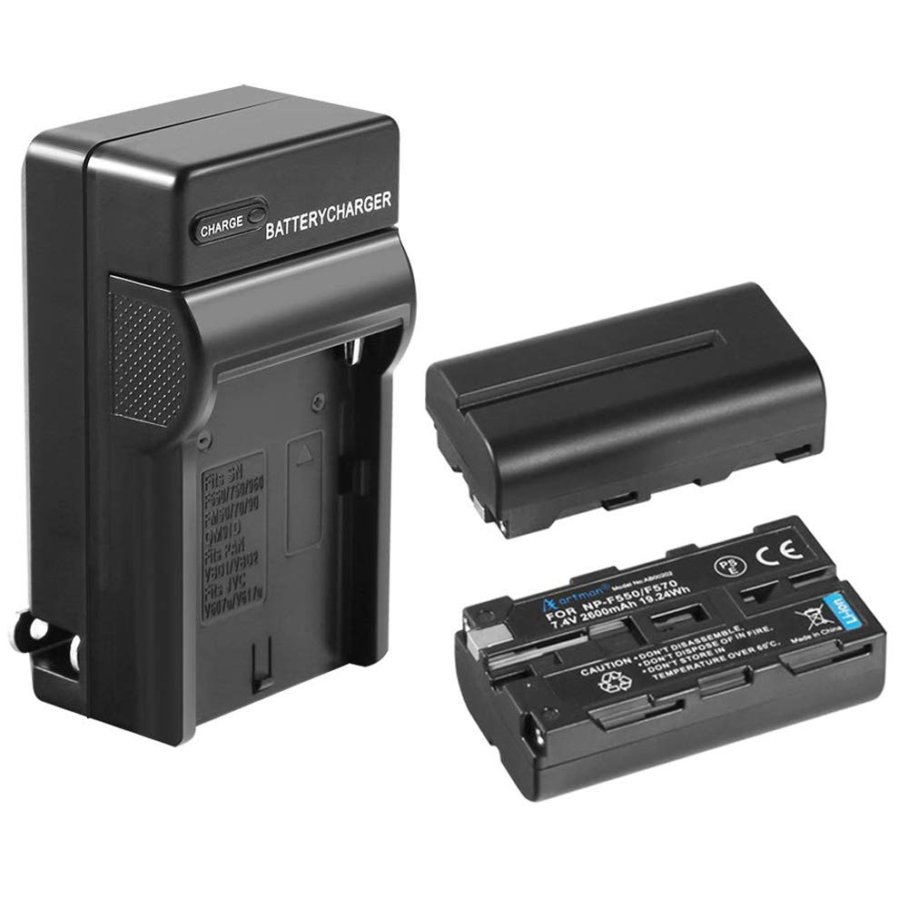 Artman NP-F550 2-Pack Replacement Batteries and One Battery Wall Charger for Sony NP F970, F750, F770, F960, F550, F530, F330, F570, CCD-SC55, TR516, TR716, TR818, TR910, TR917(2600mAh)