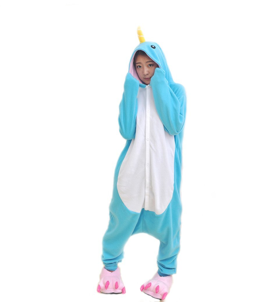 Adult Unisex Unicorn Hooded Animal Bathrobe (S, Narwal)